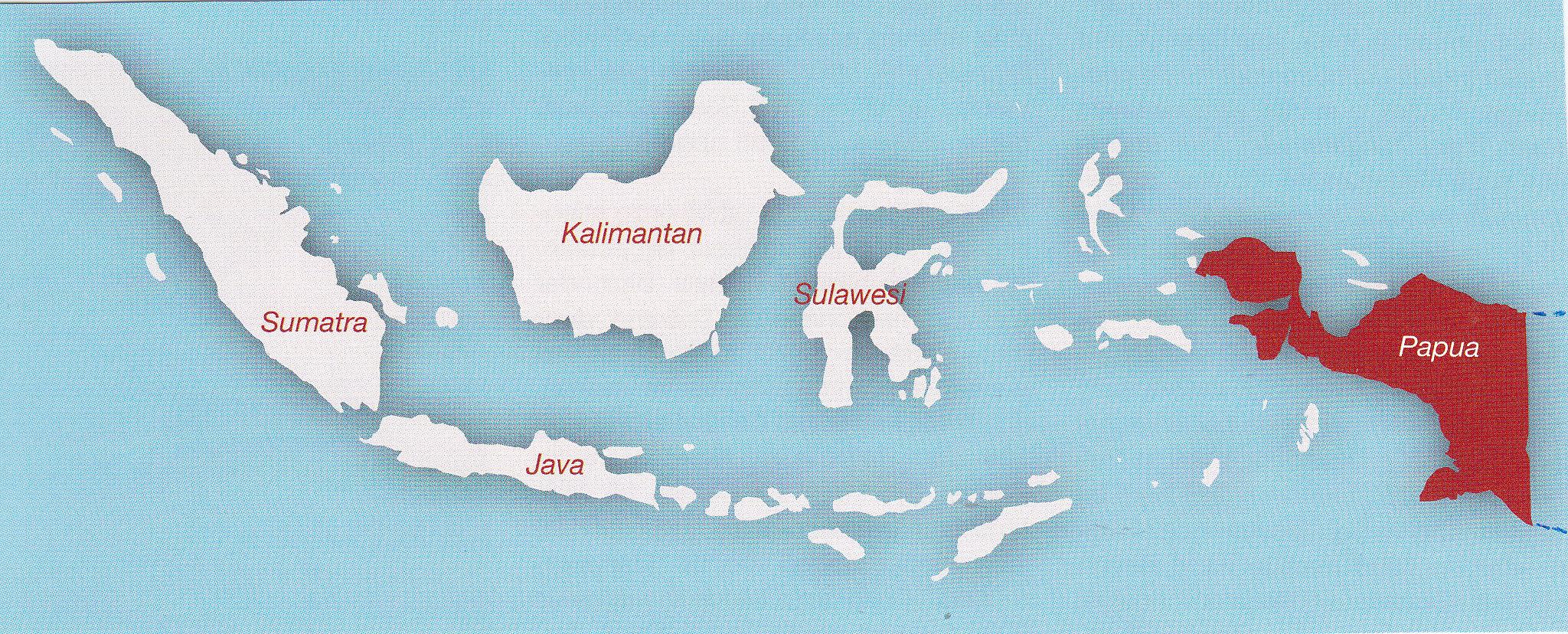Landkaart van Indonesië en Papua Nieuw Guinea